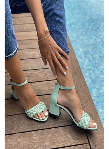 İnan Ayakkabı BAYAN TEK BANT İNCE ÖRGÜ BİLEKLİ TOPUKLU AYAKKABI Yeşil